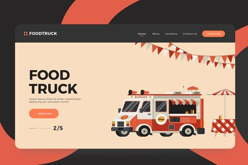 Food Truck Vector Illustrations