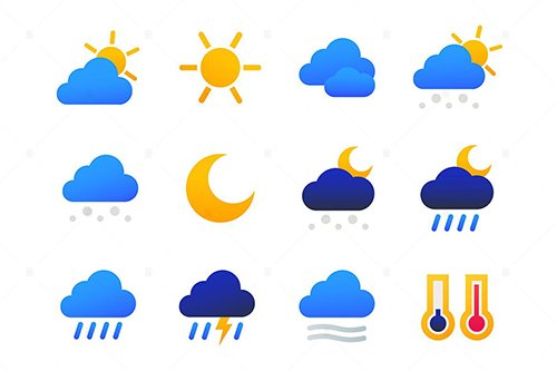 Weather types - set of flat design style icons