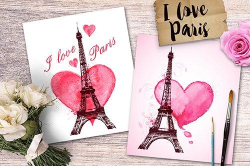 I Love Paris - Romantic cards