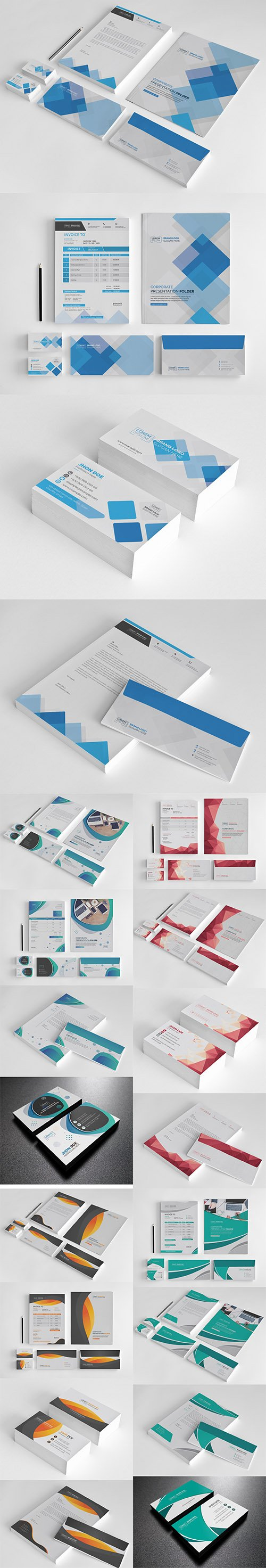 5 Stationery Templates Vector Set