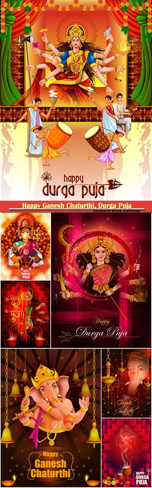 Happy Ganesh Chaturthi, Durga Puja vector illustration