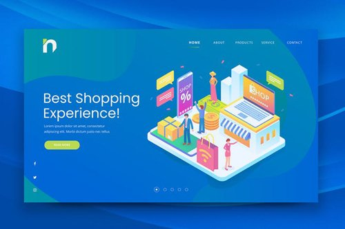 Isometric Shopping Web PSD and AI Vector Template