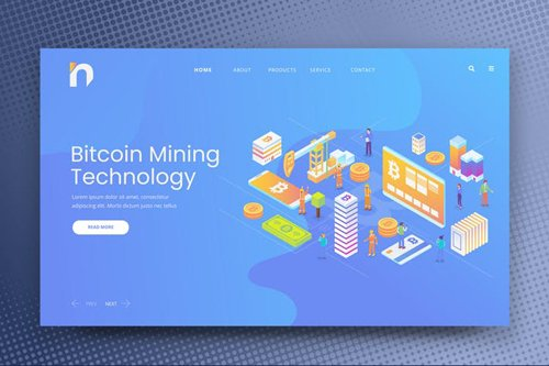 Isometric Bitcoin Web PSD and AI Vector Template