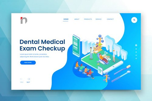 Isometric Dental Web PSD and AI Vector Template