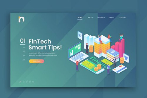 Isometric Fintech Web PSD and AI Vector Template