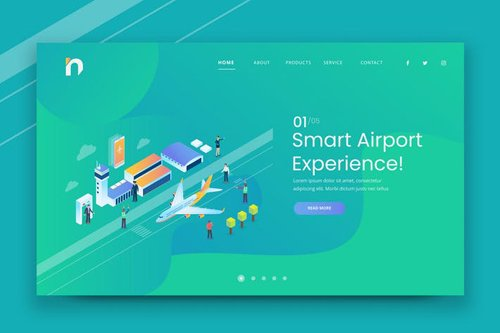 Isometric Smart Airport Web PSD and AI Vector Temp