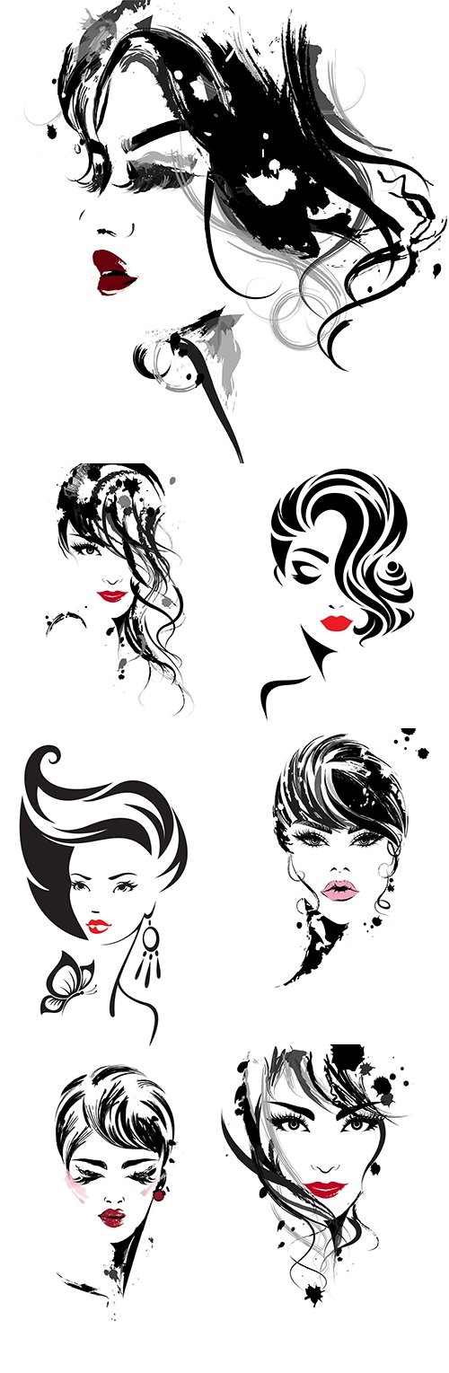 Elegant girl cosmetics and stylish hairstyle logo