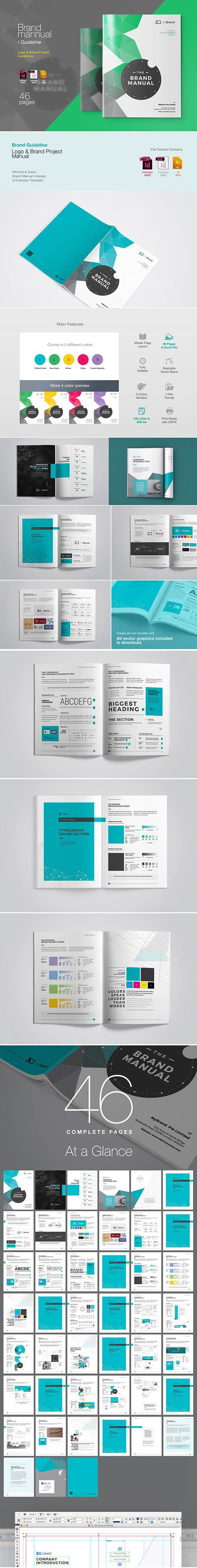 CreativeMarket - Brand Guideline Brochure 3370193