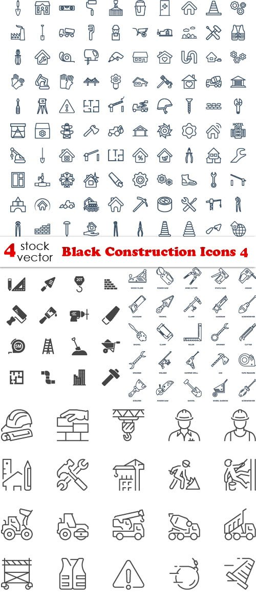 Vectors - Black Construction Icons 4