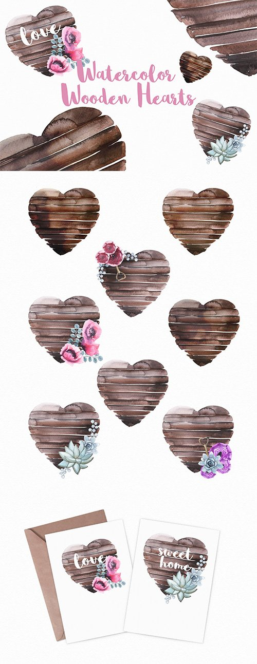 Watercolor Wooden Hearts