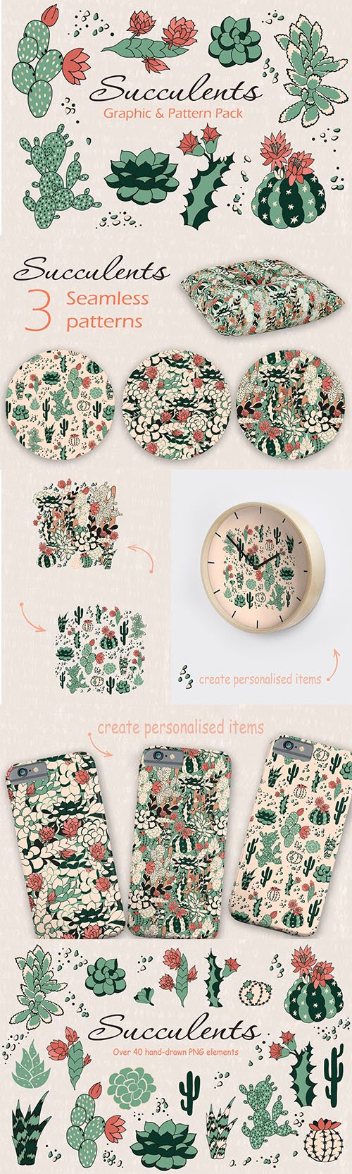 Succulents Graphic and Pattern Pack