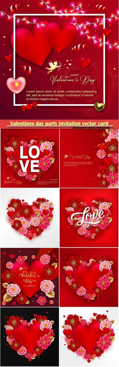 Valentines day party invitation vector card