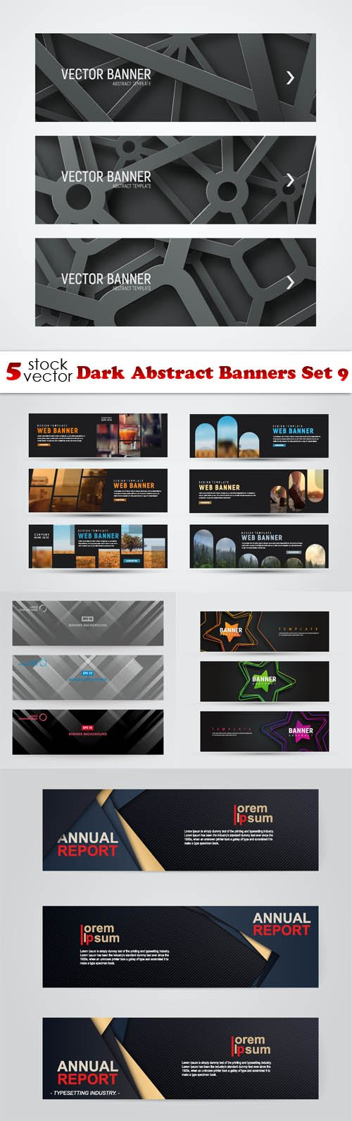 Vectors - Dark Abstract Banners Set 9