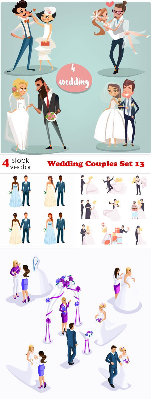Vectors - Wedding Couples Set 13