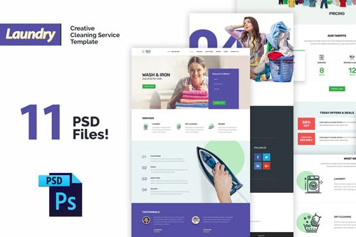 Laundry - Creative Cleaning Service PSD Template