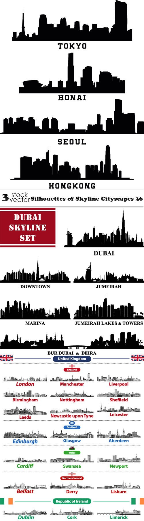 Vectors - Silhouettes of Skyline Cityscapes 36