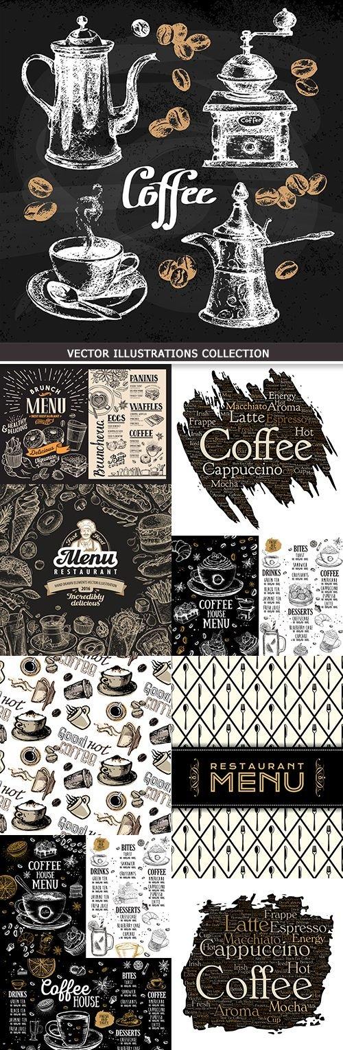 Coffee menu haus restaurant vintage illustration design
