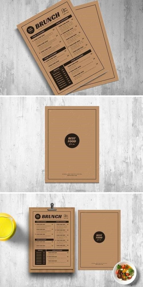 Retro Menus With Kraft Paper