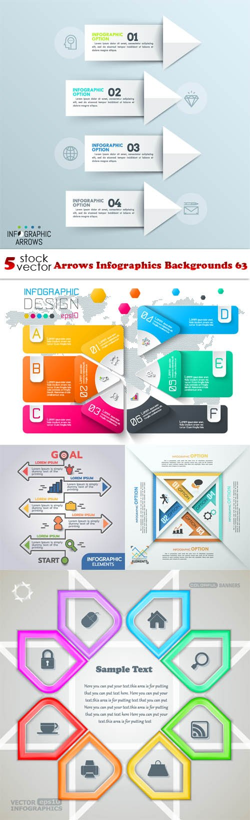 Vectors - Arrows Infographics Backgrounds 63