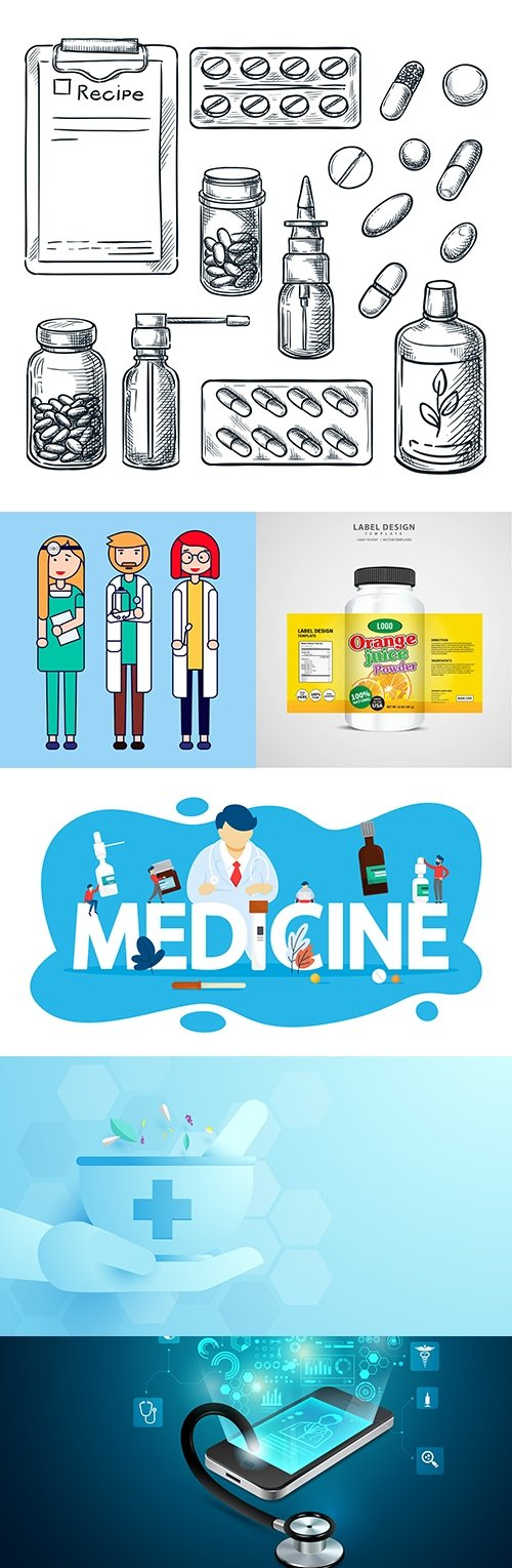 Medicine professional dignostic and equipment illustration 7