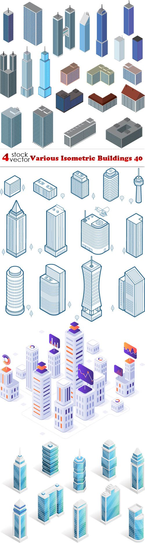 Vectors - Various Isometric Buildings 40