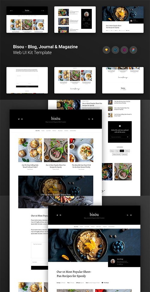 Bisou Blog, Journal & Magazine Web UI Kit Template