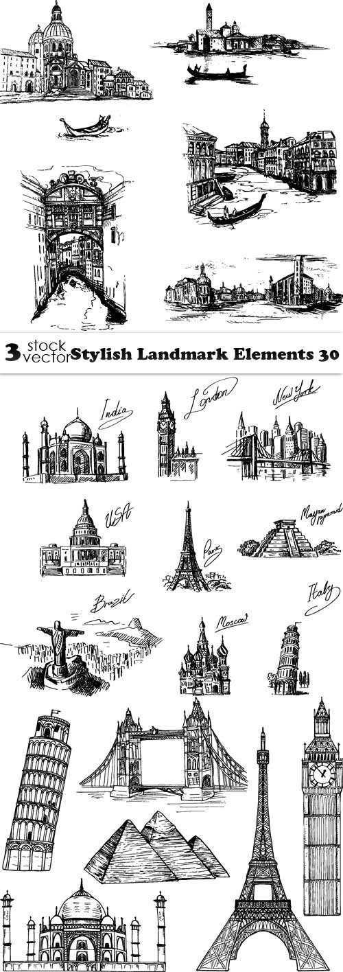 Vectors - Stylish Landmark Elements 30