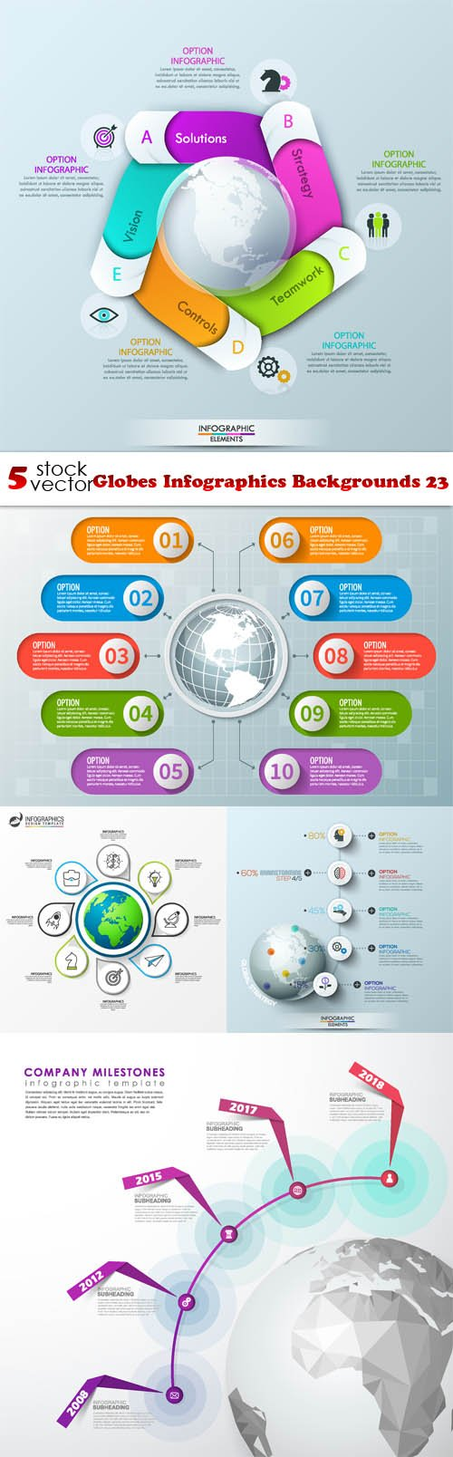 Vectors - Globes Infographics Backgrounds 23