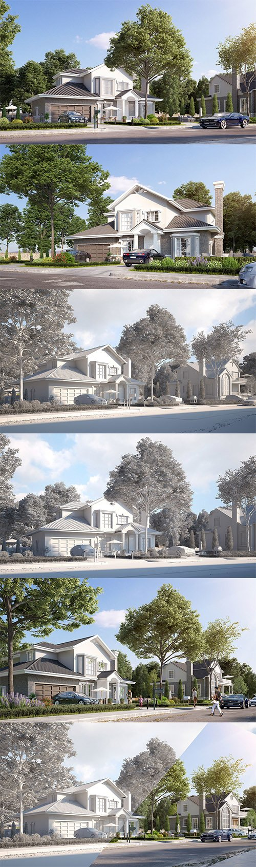 Exterior beautiful house best rendering Low-poly 3D model