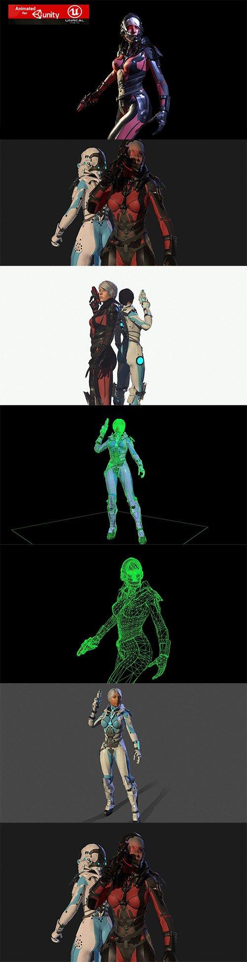 Sci Fy Girl Low-poly 3D model