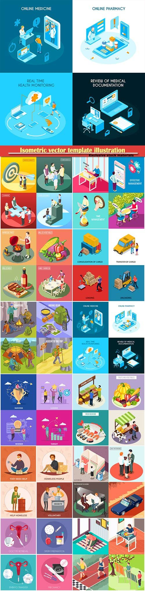 Isometric vector template illustration # 10