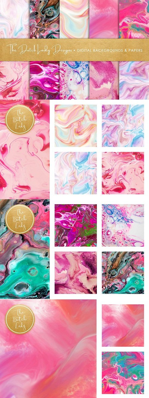 Pink Marble & Swirl Backgrounds - 3363868
