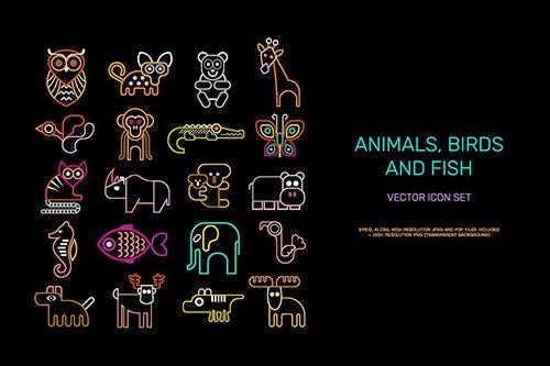 Animal vector icon set (neon colors)