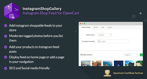 InstagramShopGallery v3.1.1 - Shoppable Instagram Feed for OpenCart