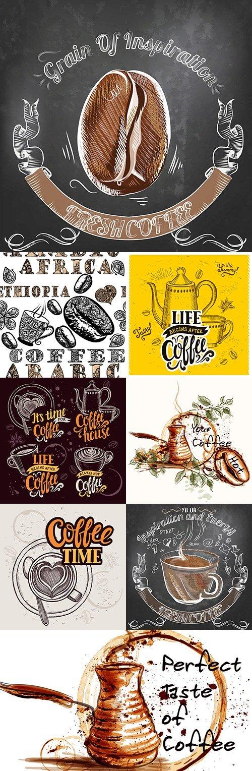 Fragrant coffee vintage sketch poster grunge background
