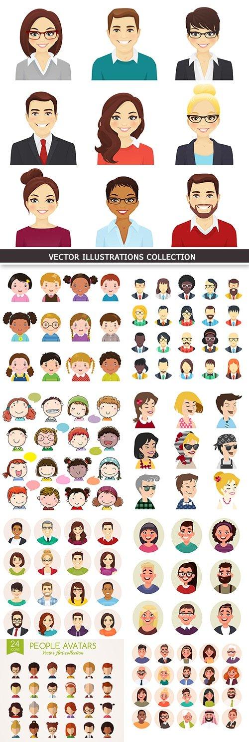 Set avatars happy people different age portraits cartoon