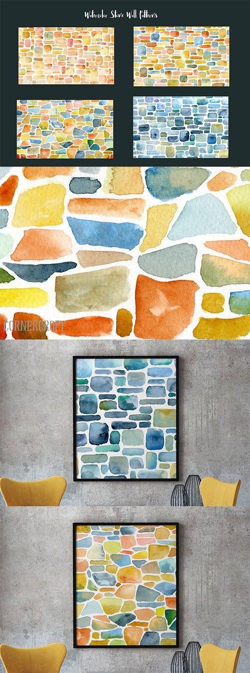 Watercolor Stone Wall Patterns
