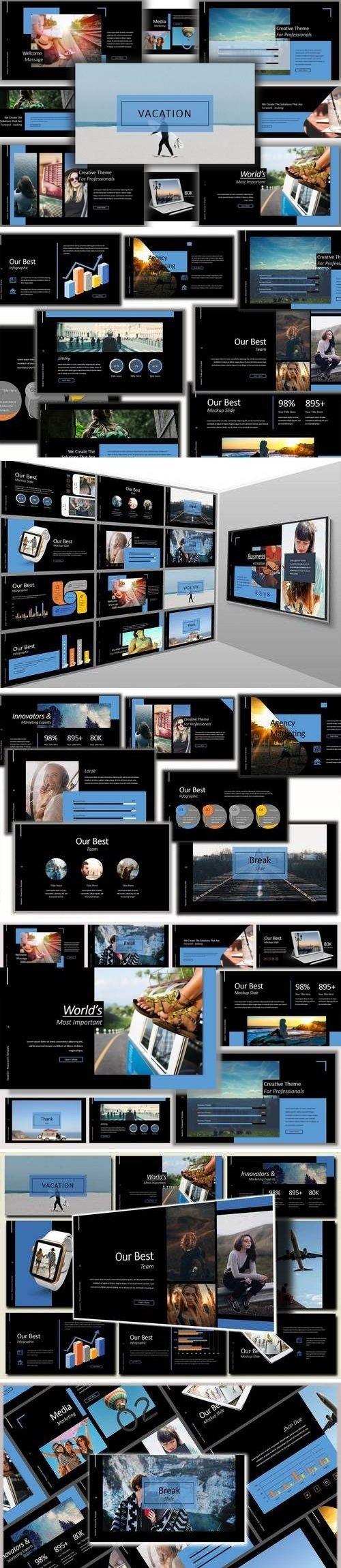 Vacation Lookbook Dark - Powerpoint, Keynote, Google Sliders Templates