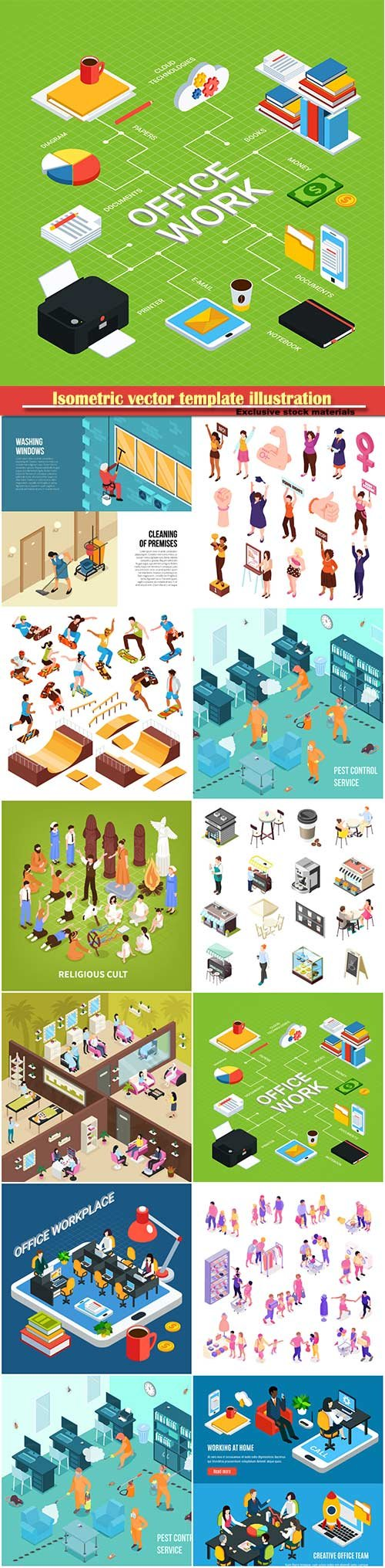 Isometric vector template illustration # 16