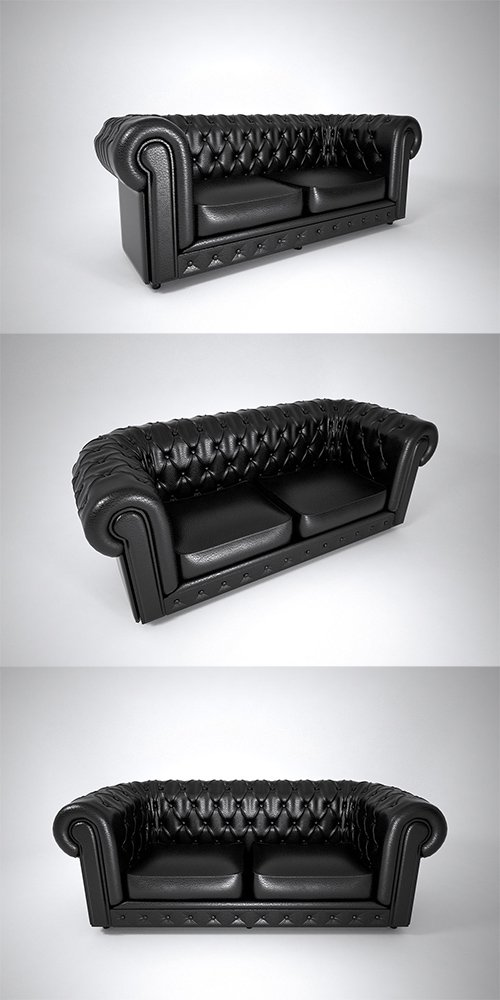 01 LEATHER SOFA DOUBLE 3D model