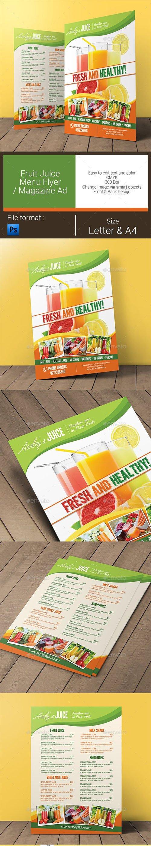 GR - Fruit Juice Menu Flyer / Magazine Ad 11027875