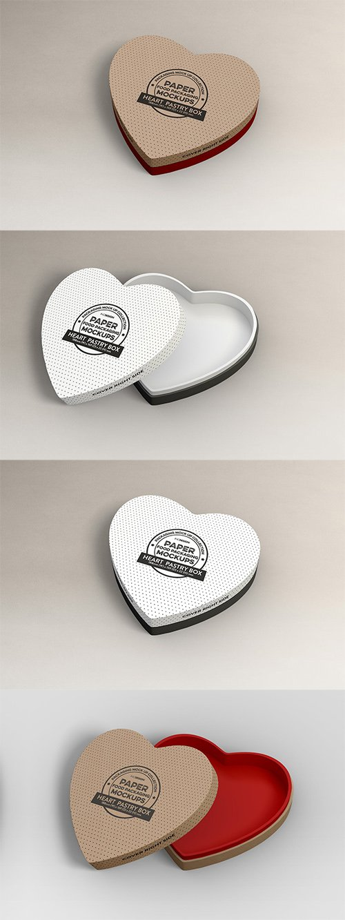 Paper Heart Box Packaging Mockup