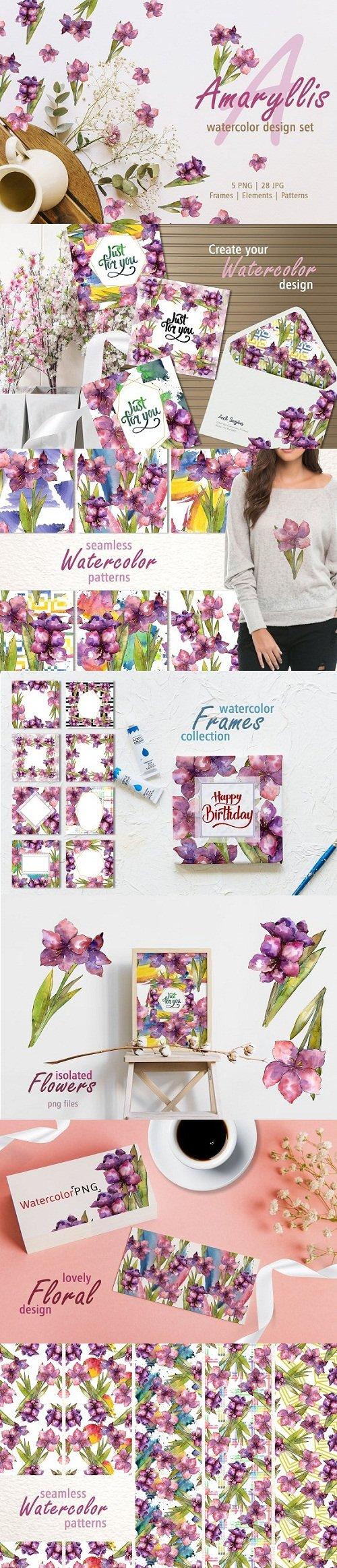 Amaryllis design set Watercolor png - 3415300