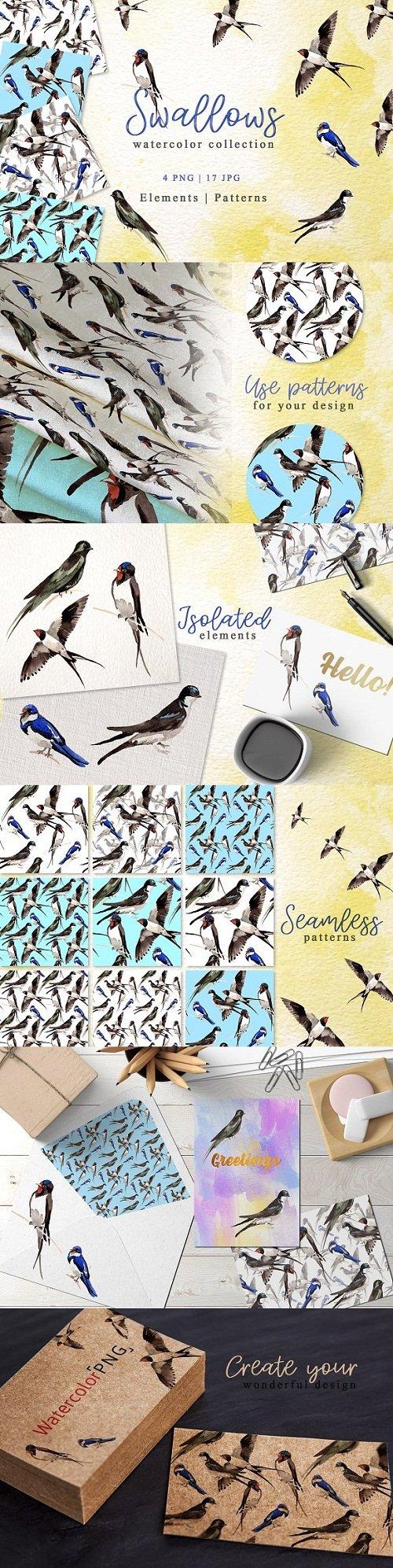 Swallows Watercolor png - 3415554