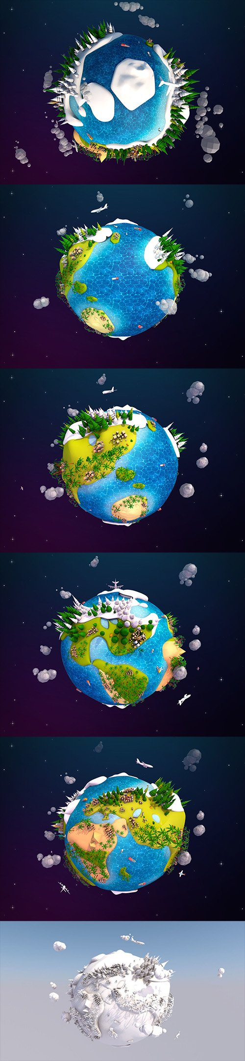 Cartoon Lowpoly Earth Planet 2 Low-poly 3D model