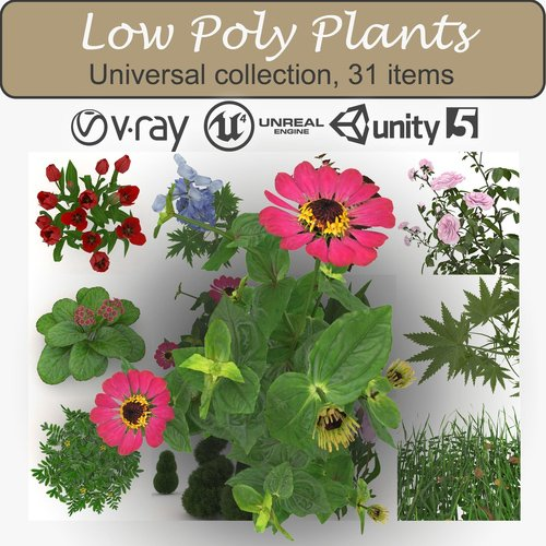 Low Poly Plants Low-poly 3D model