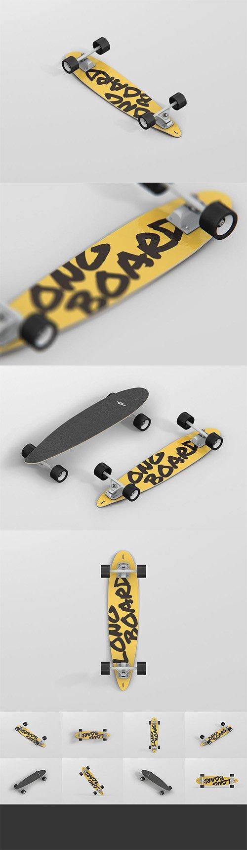 PSD Skateboard Longboard Mockup