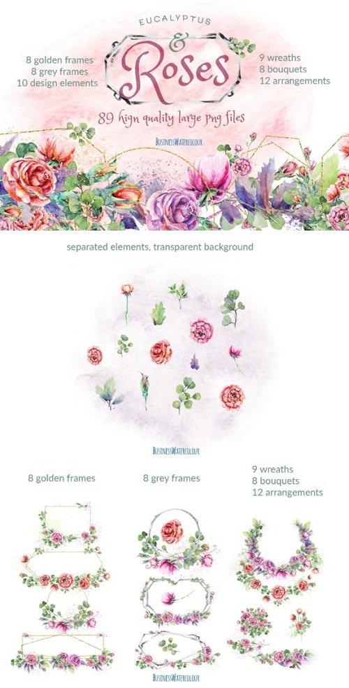 Eucalyptus & Roses Watercolor Bundle