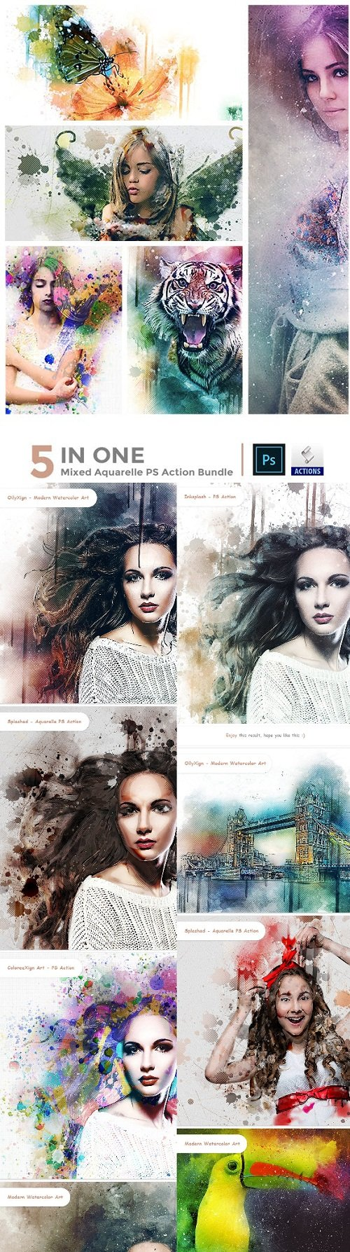 5 in One Mixed Aquarelle PS Action Bundle - 23066719