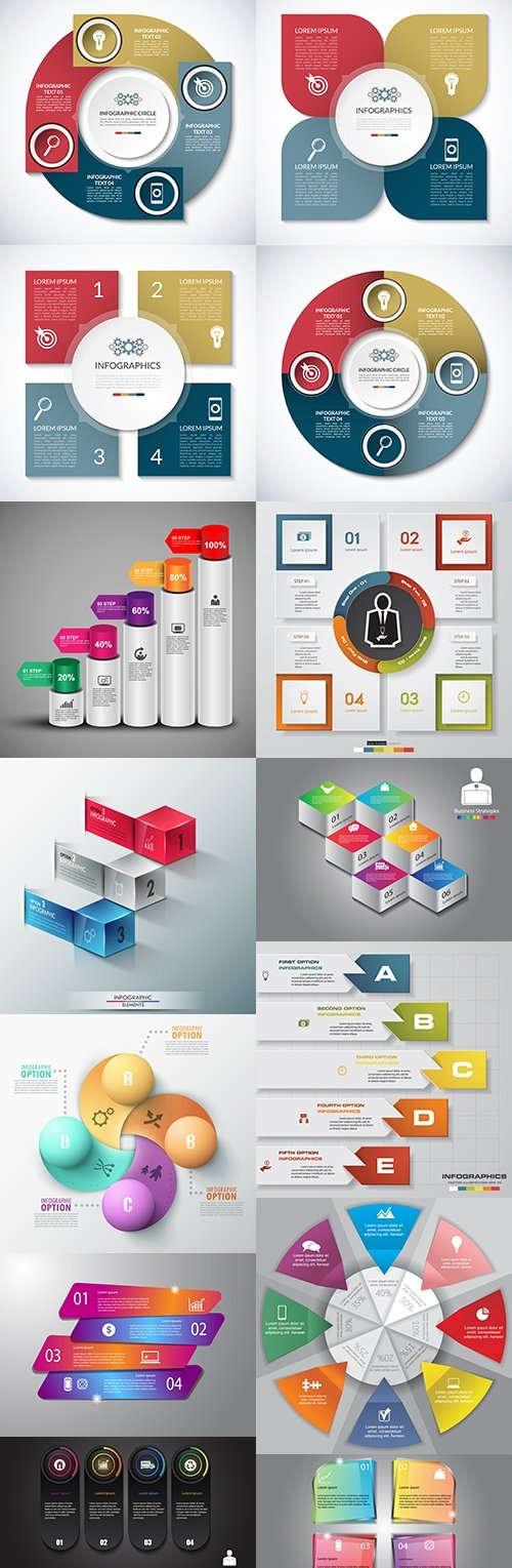 Modern infographics business options elements 28